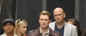 Chris Evans on the set of the AVENGERS