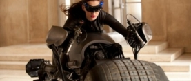 Anne Hathaway in full Catwoman outfit on the set of 'THE DARK KNIGHT RISES'