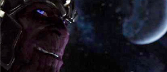 See Thanos in the post-credits scene of 'THE AVENGERS'
