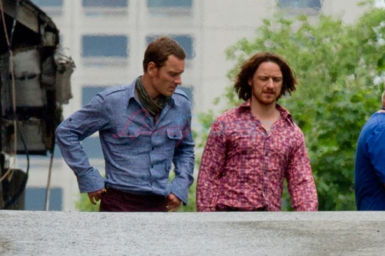 EXCLUSIVE: First look at Michael Fassbender and James McAvoy look groovy on new 'X-MEN Days of Future Past' set