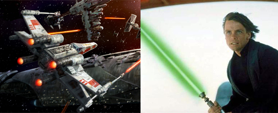 X-Wing Starship and Luke Skywalker lightsaber color